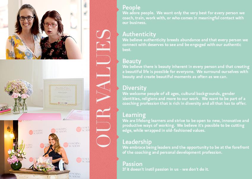Beautiful You Coaching Academy Values
